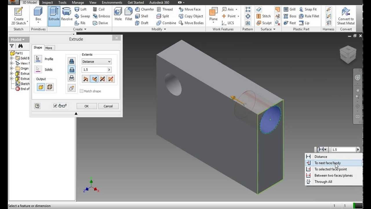 Using The Extrude Feature To Create A 3d Object Autodesk Inventor Tutorial 1 Youtube