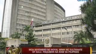 24 Oras: Mga miyembro ng Royal Army ng Sultanate of Sulu, pauuwiin na raw sa Pilipinas