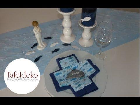 kommunion konfirmation servietten falten kreuz youtube. Black Bedroom Furniture Sets. Home Design Ideas