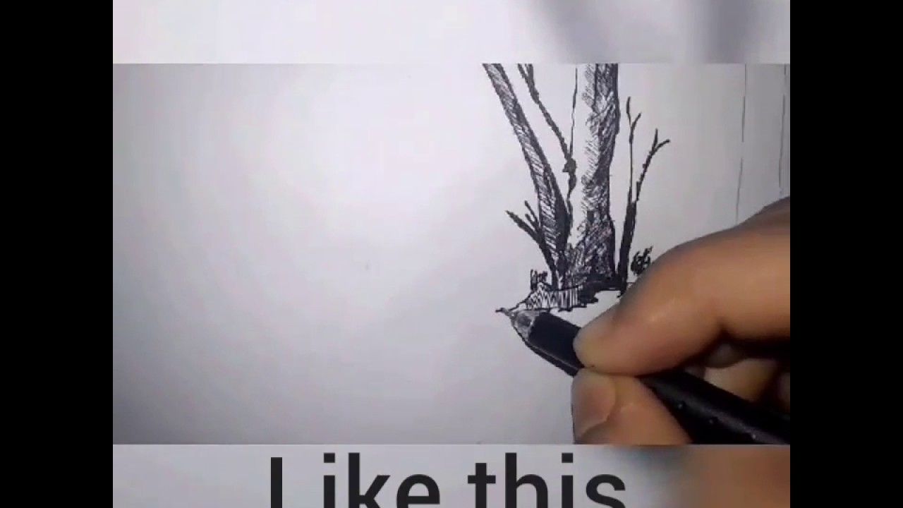 How we draw pen sketch on topic deforestation