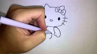 สอนวาดรูป การ์ตูน คิตตี้ Hello Kitty ท่านั่ง