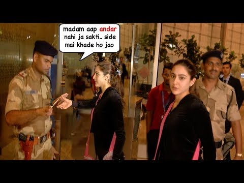 Sara Ali Khan's Most EMBARASSING Moment As Security STOPS Her From Entry @Mumbai Airport