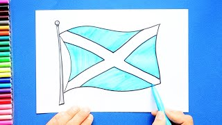 How to draw and color the flag of Scotland