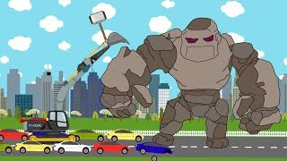 Thor Ragnarok Excavator Vs Stone Giant - Video For Kids