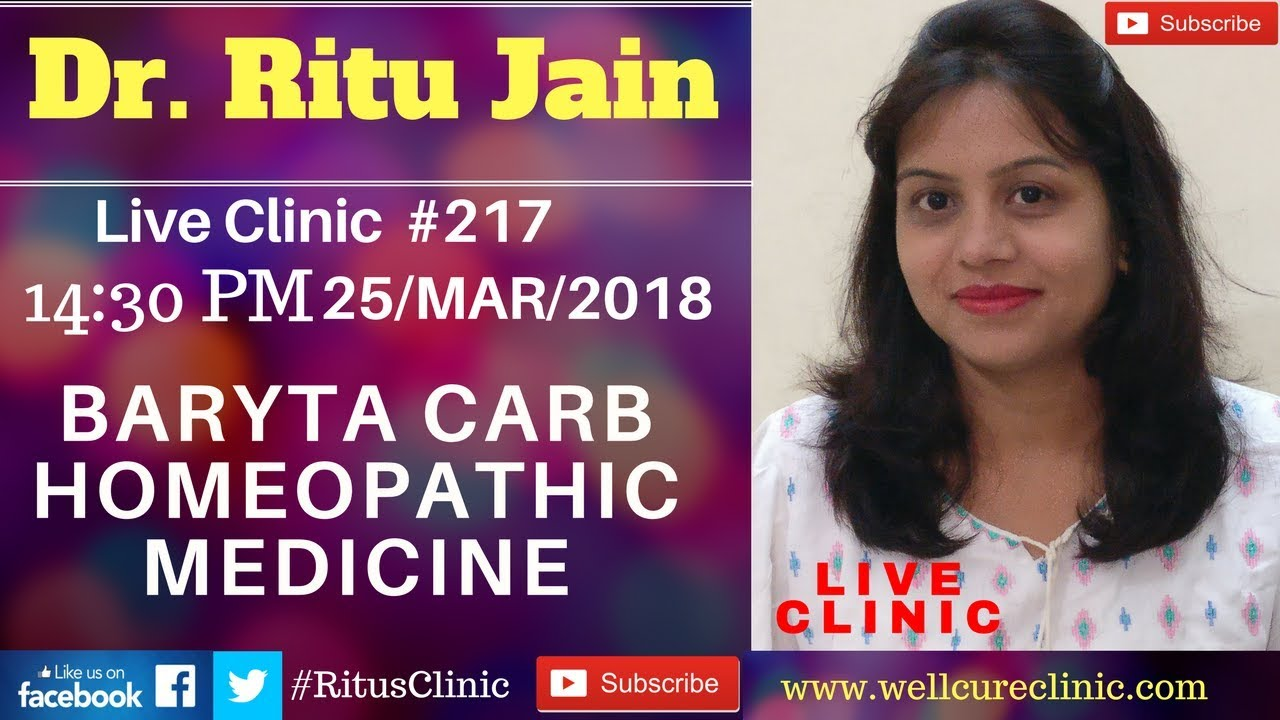 Baryta Carb Homeopathic Medicine Dr Ritu's Live Clinic #217