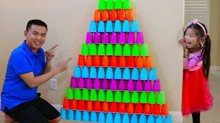 Emma Pretend Play w/ Giant Colorful Cup Wall Challenge Game Build Pyramid Kids Toys