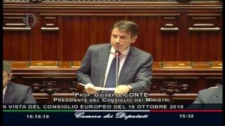 Consiglio europeo del 18 ottobre,  le comunicazioni del Presidente Conte alla Camera dei Deputati