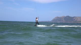 Toni kite student www edmkpollensa com kitesurfing lessons in Mallorca in August our kite spot