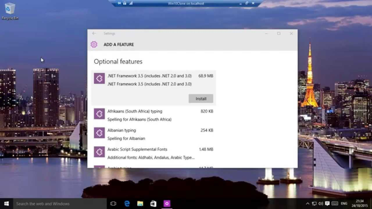 Windows 10 - Enable and Disable Features And Language Packs