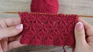 Узор спицами «Сердечки на резинке» | «Hearts in rib» Knitting pattern