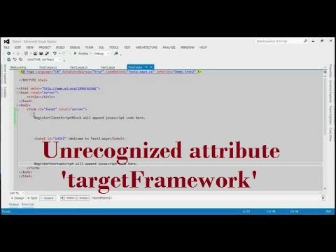 Unrecognized attribute 'targetFramework'  Note that attribute names are case sensitive