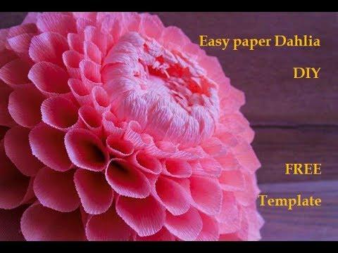 Easy Crepe Paper Flower Dahlia DIY Free Template