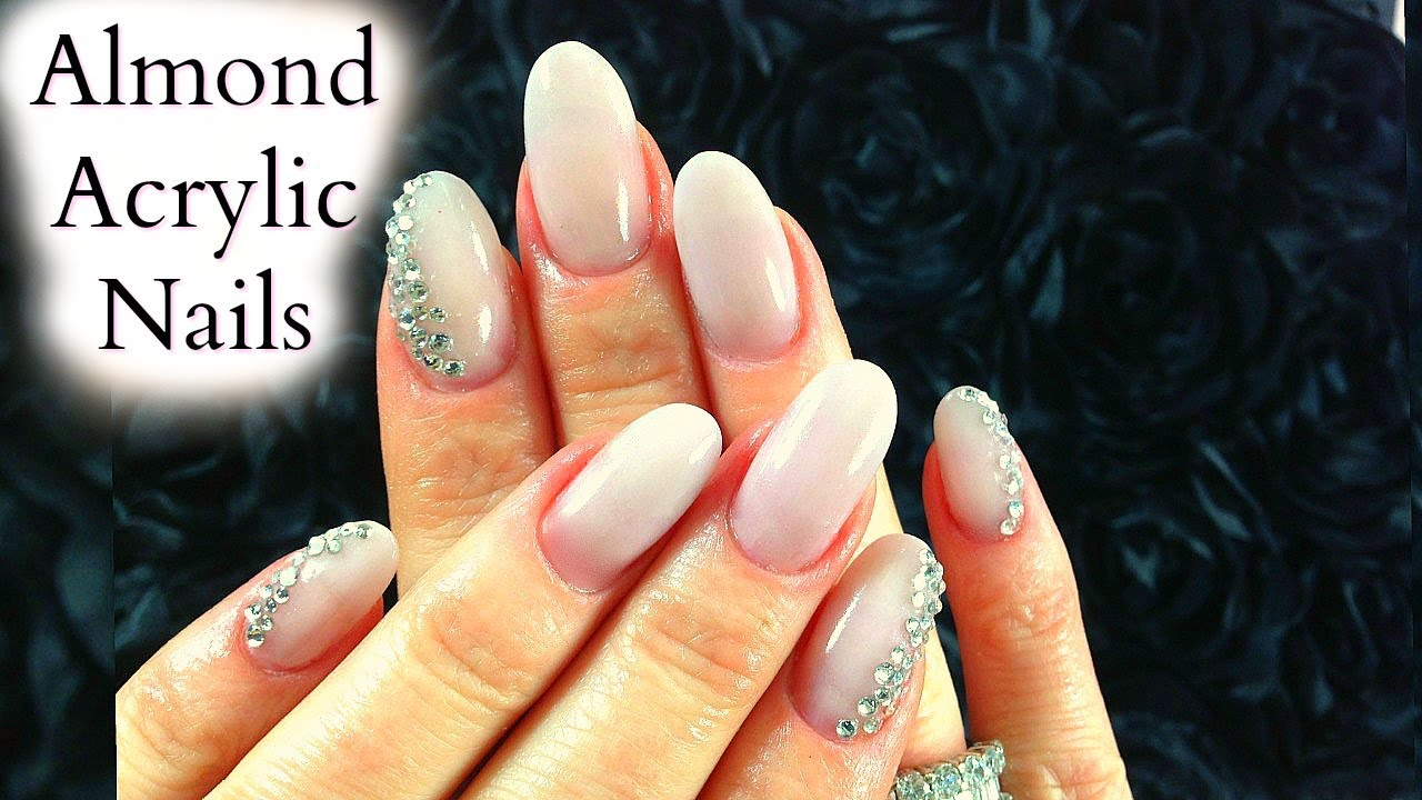 Sculpted Diy Acrylic Nails Tutorial From Square To Almond With Rhinestone Nail Art