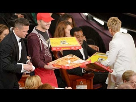 Ellen DeGeneres Sells Pizza At The Oscars 2014 Before Group Selfie