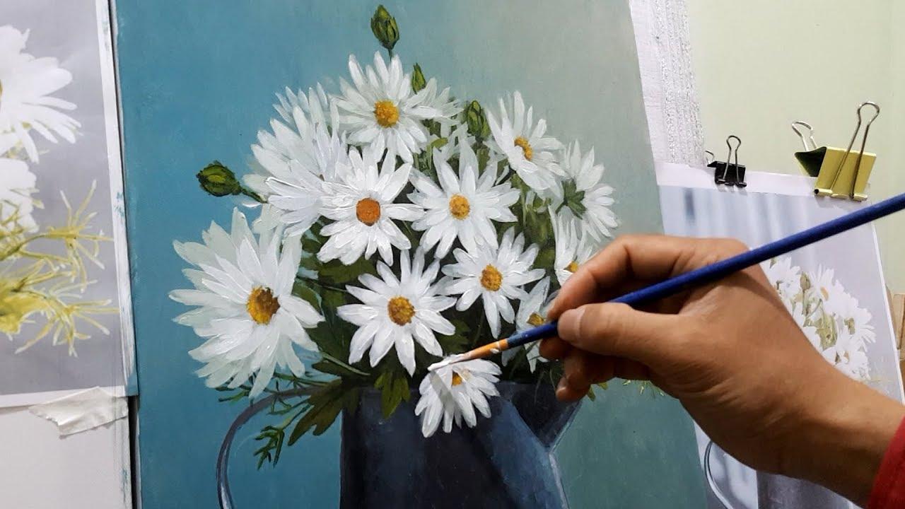 Cách vẽ hoa cúc họa mi với sơn acrylic đẹp như thật | Goart do