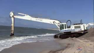 Liebherr R954 Long Reach Excavator Digging On The Beach