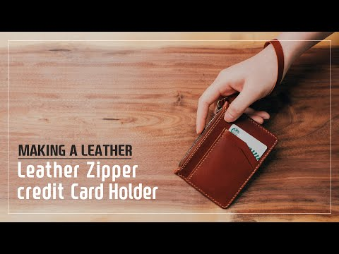 Leather Zipper credit card holder / 가죽 지퍼 카드 지갑 / Leather craft PDF / 가죽공예 패턴