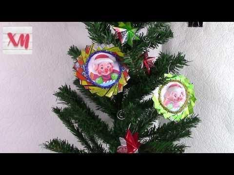 Новогодняя игрушка с поросенком/Christmas tree toy. ХоббиМаркет