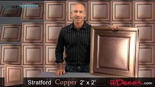 Stratford Vinyl 2x2 Ceiling Tile - Copper