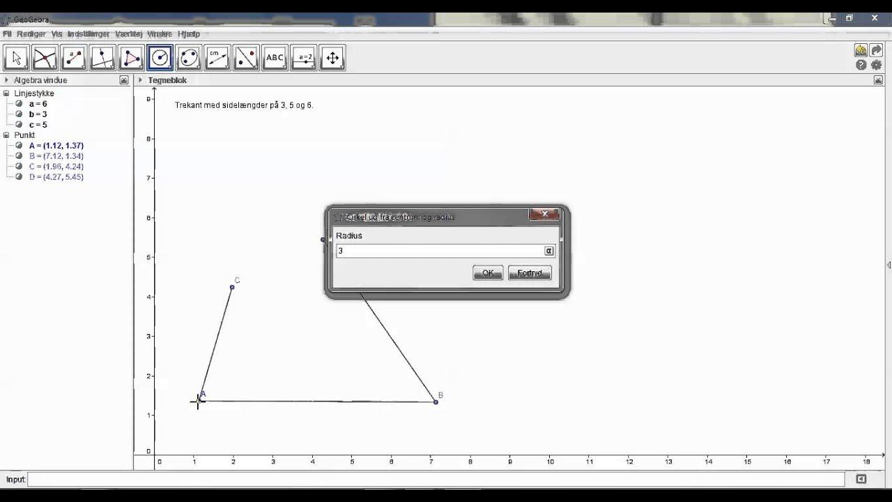 Tegn en trekant ud fra kendte sidelængder