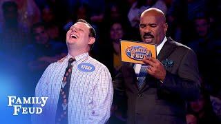 Funny Fast Money! Steve Harvey can't believe Kegan's answer! | Family Feud