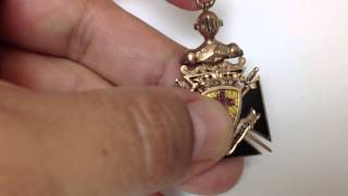 "Antique 10k Gold Knights Templar ""IN HOC SIGNO VINCES"" Necklace Pendant Masonic"