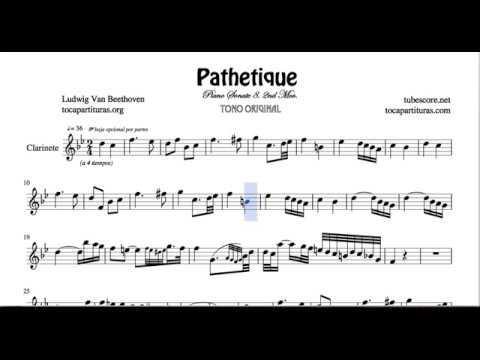 Pathetique Sheet Music for Clarinet Sonata 8 2ª Mov Beethoven