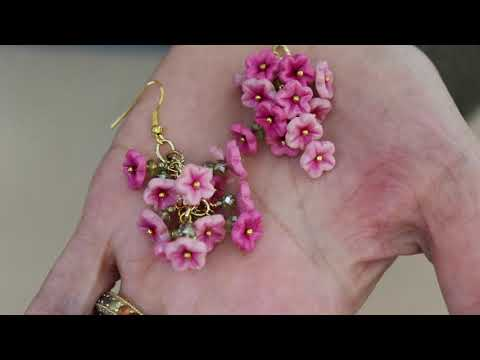 How To Make  Polymer Clay Flower Vine Earrings, Jewelry Tutorial
