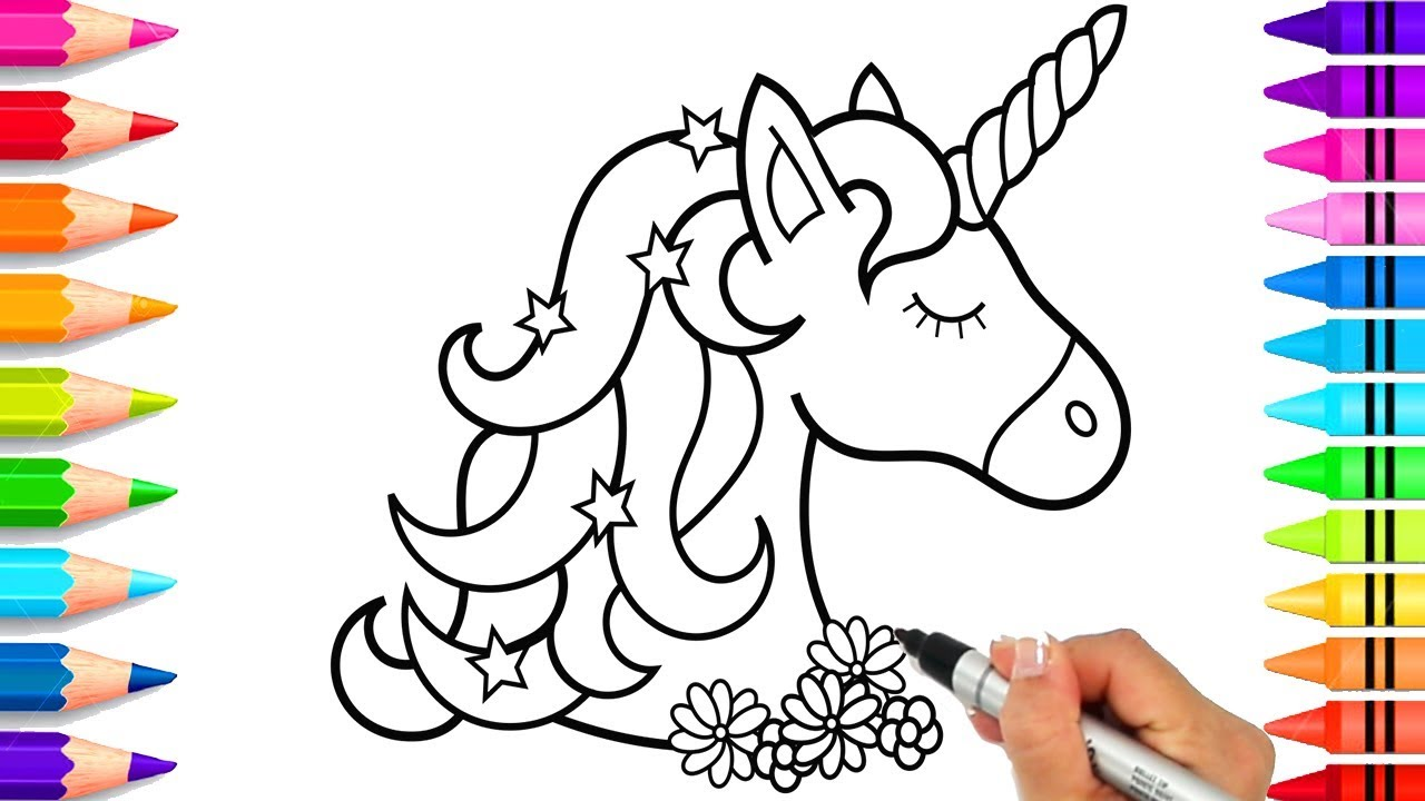 How To Draw A Unicorn For Kids Easy Unicorn Coloring Pages Easy To Draw Youtube
