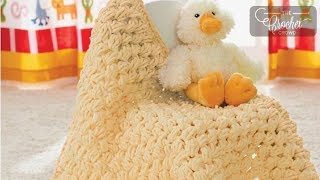 Learn to Crochet this Puffy Baby Blanket. Easy to crochet with Bern...