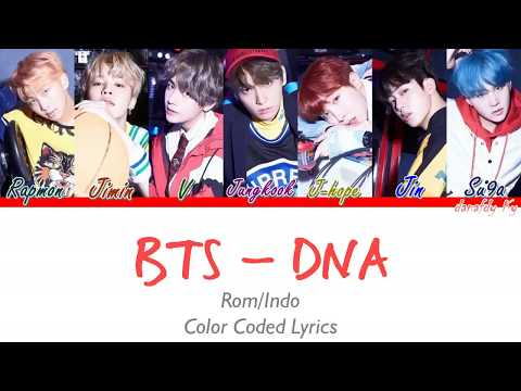 BTS - DNA Lirik Indo/Rom (Color Coded Lyrics) _danafdy Ky