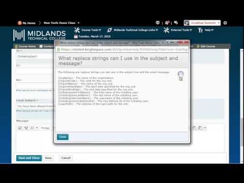 D2L Brightspace v10.4 Creating Intelligent Agents for Absence