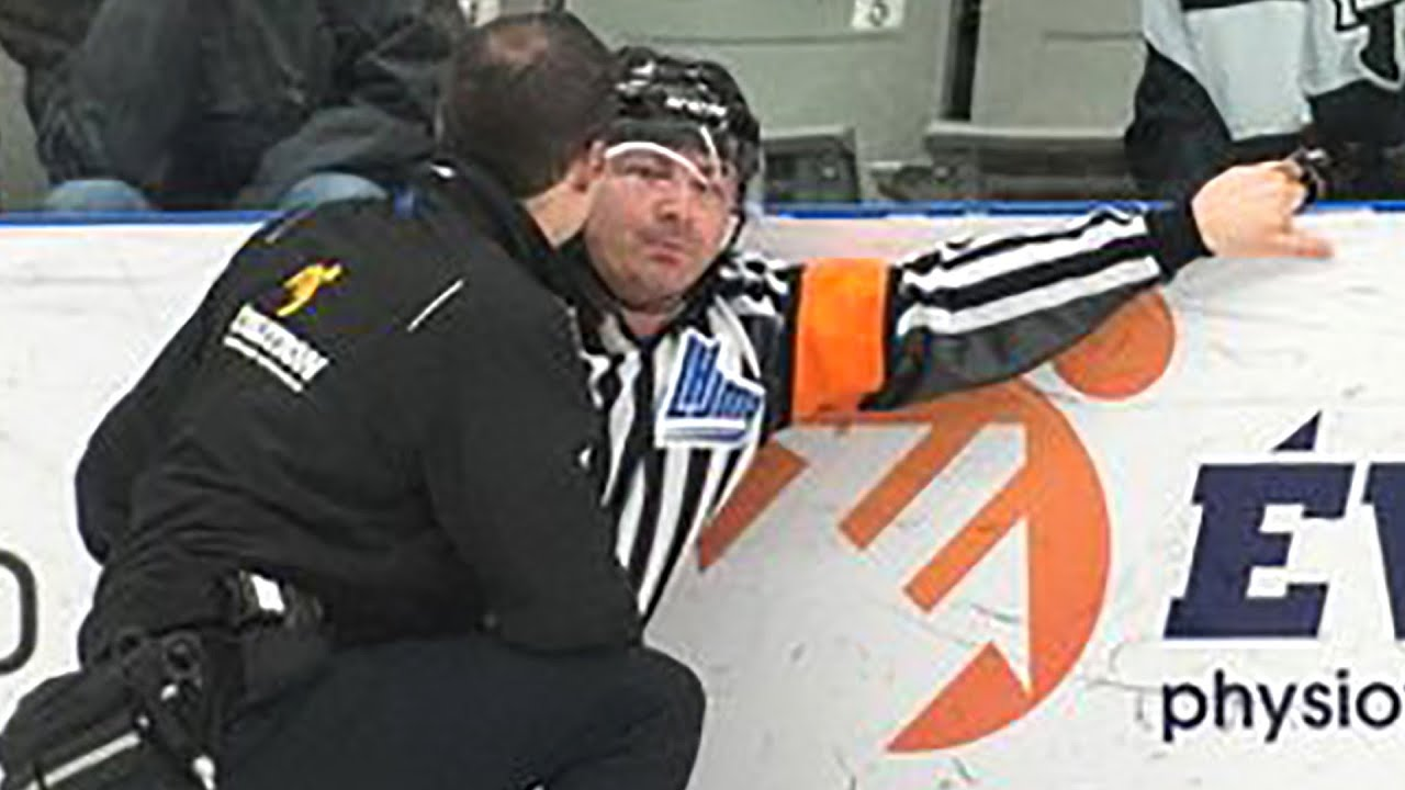 hockey ref gets hit in nuts with full beer can youtube