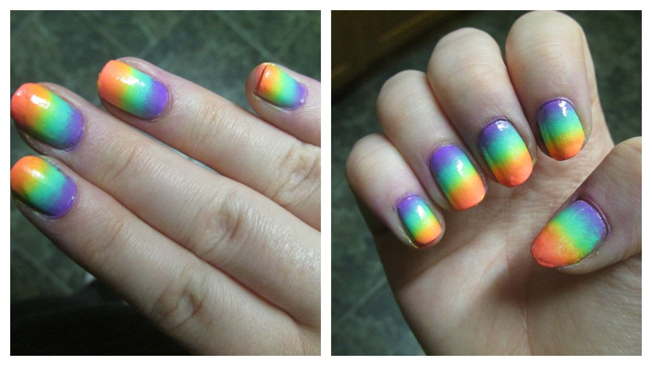 Neon Rainbow Ombre Nails - YouTube