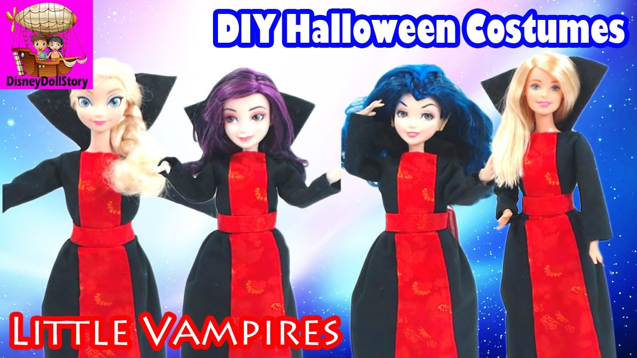 DIY Little Vampires Costumes for Halloween Descendants Mal Evie Elsa Barbie  Disney