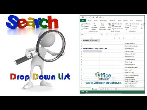 Create a Searchable Drop Down List in Excel