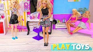 Play Barbie Doll Hair Salon Style Toys!  🎀