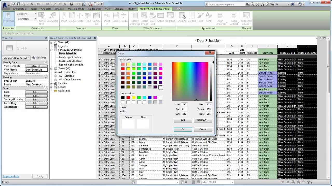 autodesk revit modifying schedule format and layout youtube