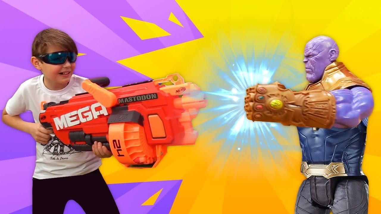 Игры стрелялки Нерф – Танос и новая Война Бесконечности! – Онлайн видео с супергероями.