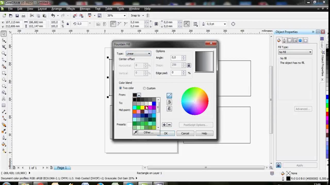 Cara Membuat Gradasi Warna Di Coreldraw Youtube