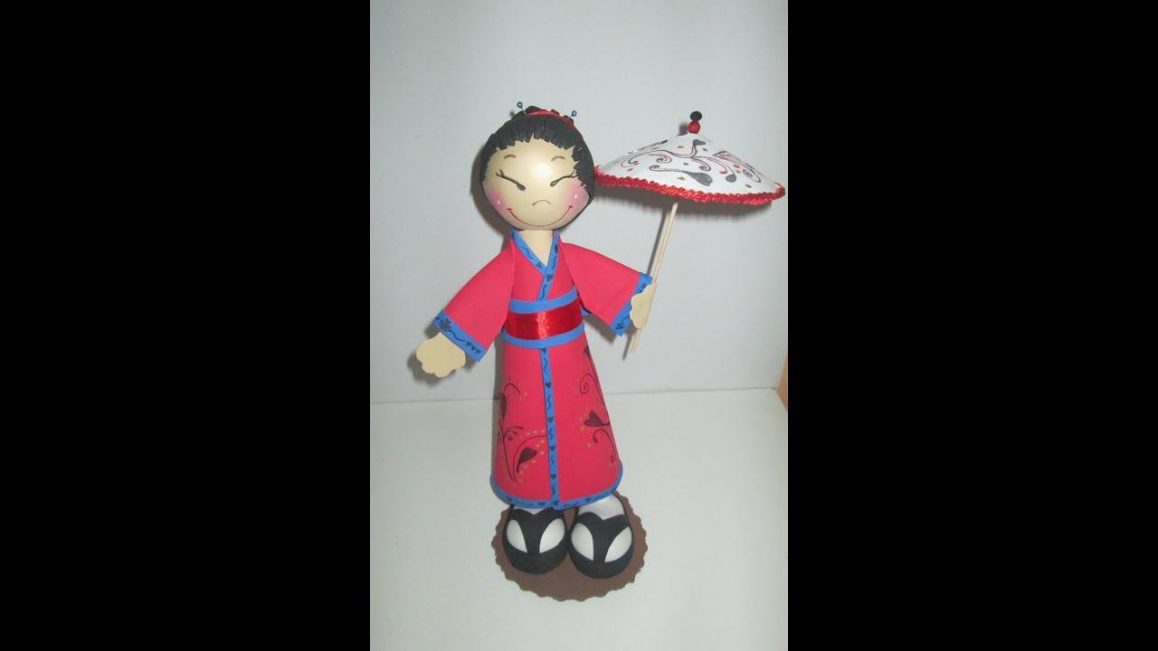 Fofucha geisha paso a paso en goma eva youtube for Como hacer una alberca paso a paso