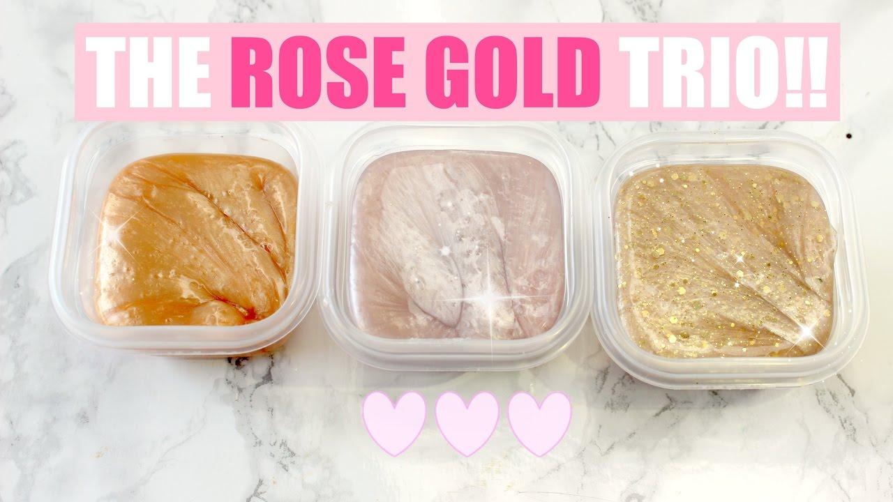 Diy rose gold metallic pearl slimes youtube for Diy rose food