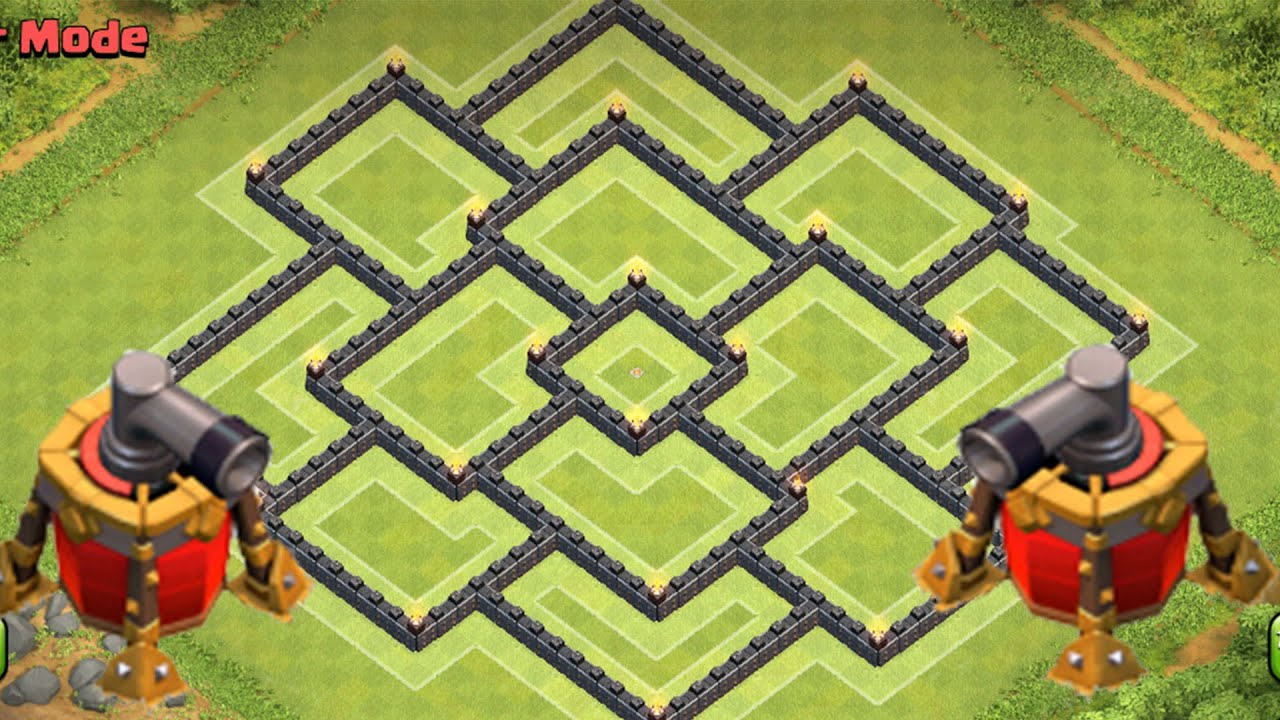 Clash of clans town hall 9 th9 war base and trophy base defense