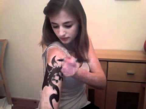 Tribal Dragon sharpie tattoo - Time Lapse - YouTube