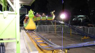 Geester at the NC State Fair Riding the Kids Dragon Roller Coaster
