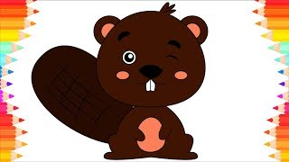 How to Draw Cute Beaver for Kids. Drawing Animals. Step by Step Art. DIY Coloring Pages for Children