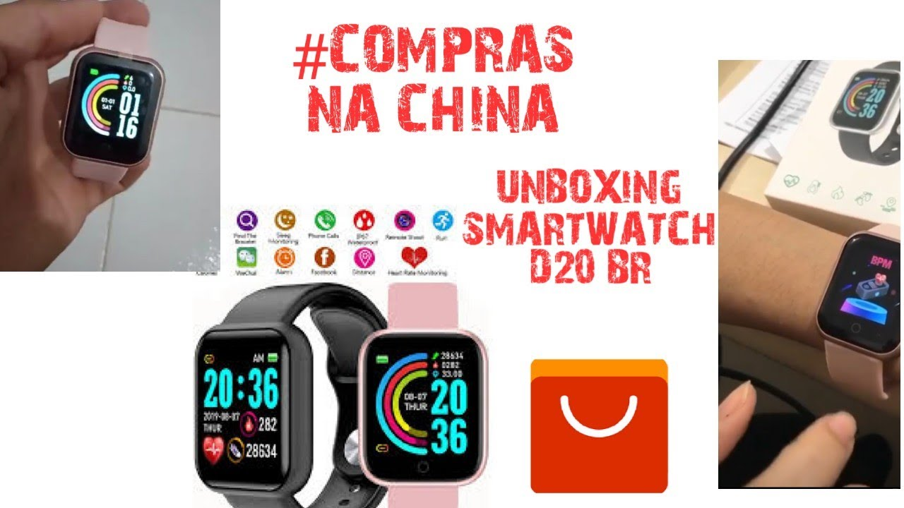 UNBOXING SMARTWATCH D20 ALIEXPRESS #IMPORTAÇÃO
