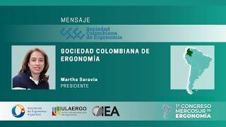 1° Congreso Mercosur de Ergonomía 5 y 6 Noviembre 2020 | Martha Saravia,  Presidente de SCE