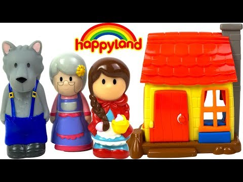HAPPYLAND FAIRY TALE LITTLE RED RIDING HOOD PLAYSET WITH SOUNDS HOUSE & CHARACTERS - UNBOXING