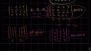 线性代数 - 矩阵的REF和RREF;寻找列空间基,行空间基和零空间基;寻找并检验秩